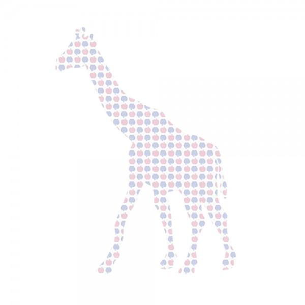 Inke Tapetentier Giraffe Apfelmuster blau rosa