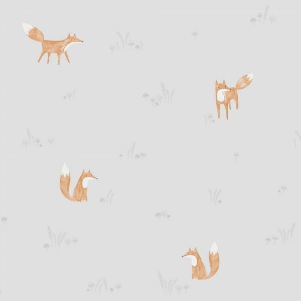 Casadeco My Little World Tapete Füchse grau orange