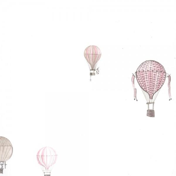 Casadeco Tapete Heissluftballons grau rosa Jules & Julie