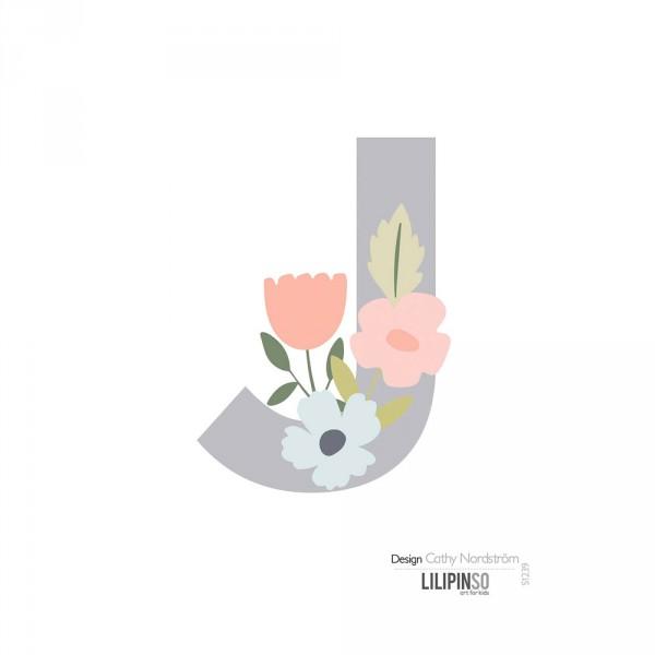 Lilipinso Sticker Buchstabe mit Blüten grau rosa pastell J