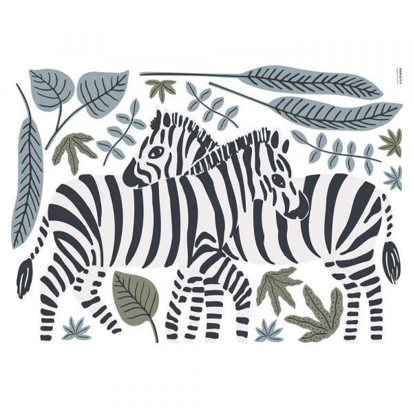 Lilipinso Wandsticker L Zebras blau oliv
