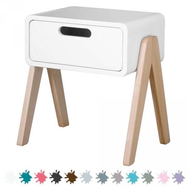 """Laurette Nachttisch """"Petit Robot"""" mit Holzbeinen"""