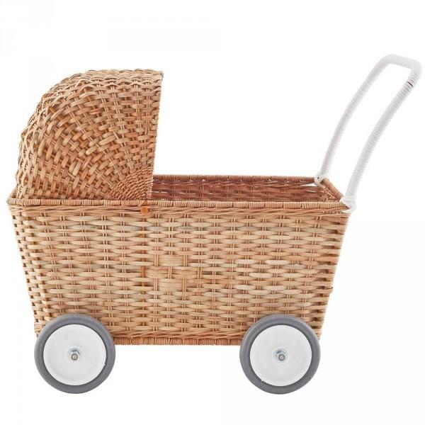 Olli Ella Rattan Puppenwagen natur