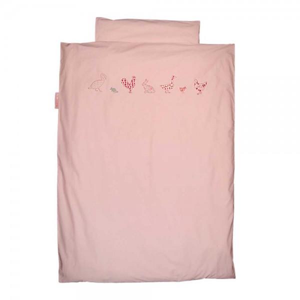 Taftan Bettwäsche Huhn & Freunde rosa 100 x 135