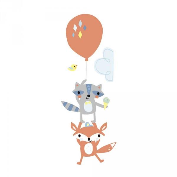 Lilipinso Wandsticker XL Fuchs und Waschbär mit Ballon grau orange