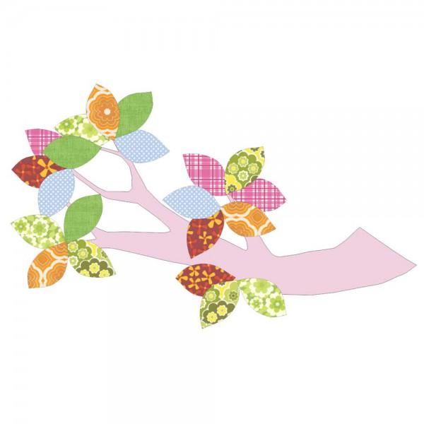 Inke Tapetenast rosa Blätter bunt