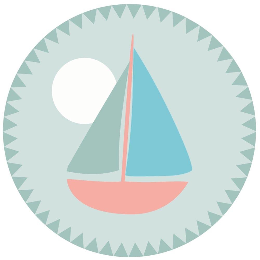 Minividuals Waschbarer Kinderteppich Rund Segelboot Bei Kinder Raume