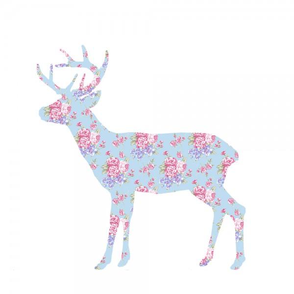 Inke Tapetentier Hirsch Rosen hellblau pink