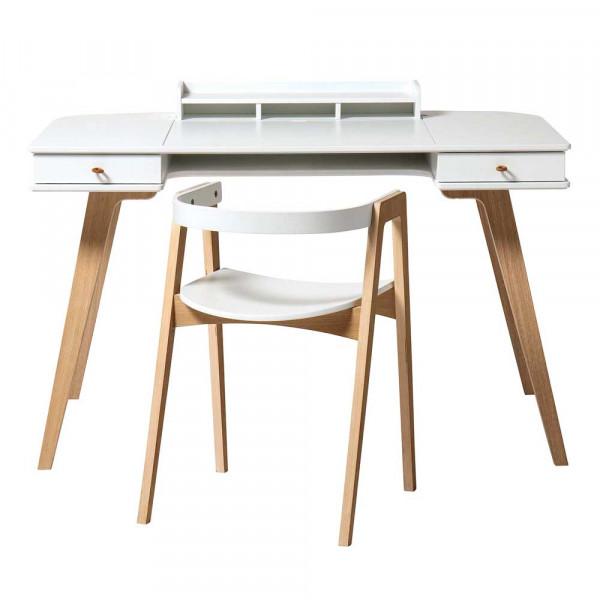 Oliver Furniture Wood Schreibtisch 72,6 cm inkl. Armlehnstuhl Holz weiss/Eiche