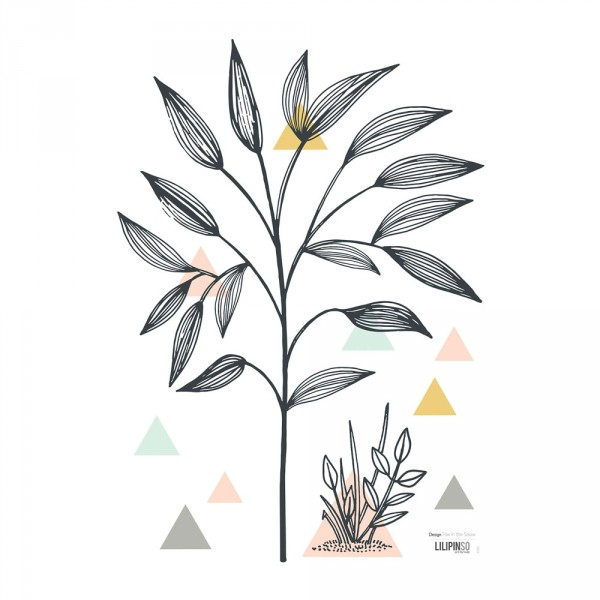Lilipinso Wandsticker A3 Zweig und Dreiecke ocker rosa mint grau