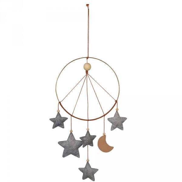 Filibabba Traumfänger / Mobile Sterne Mond grau