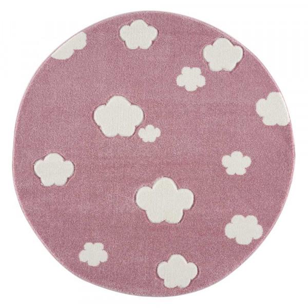 Livone Teppich rund Wolken rosa