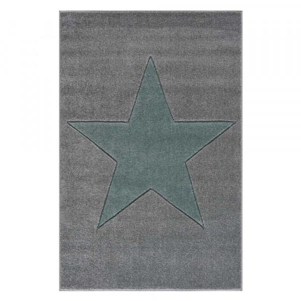 Livone Kinderteppich Stern mint auf grau