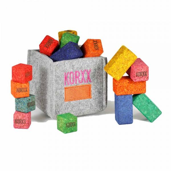 Korxx 17 kleine Kork Bauklötze Brickle farbig