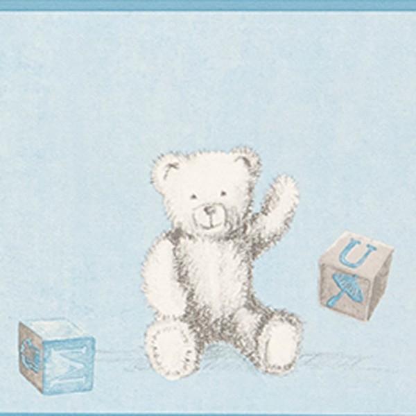 Casadeco Douce Nuit Bordüre Teddybär grau blau