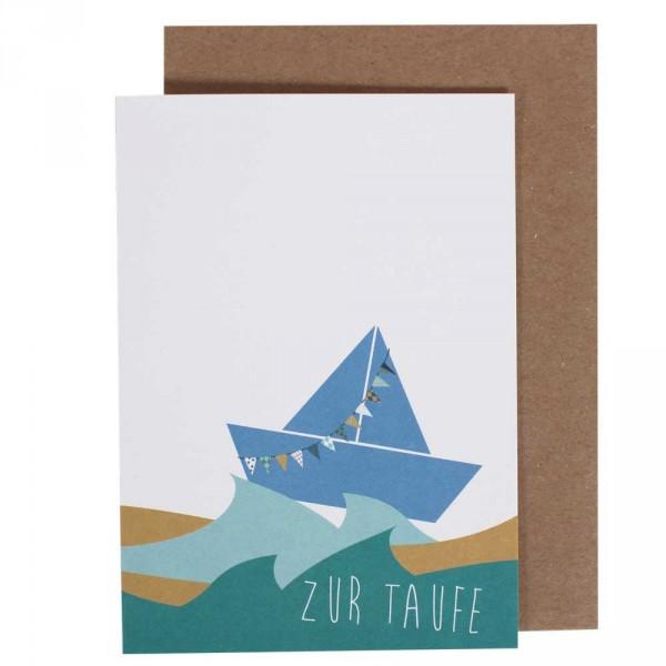 Ava Yves Glückwunsch Karte Zur Taufe Schiffchen Blau
