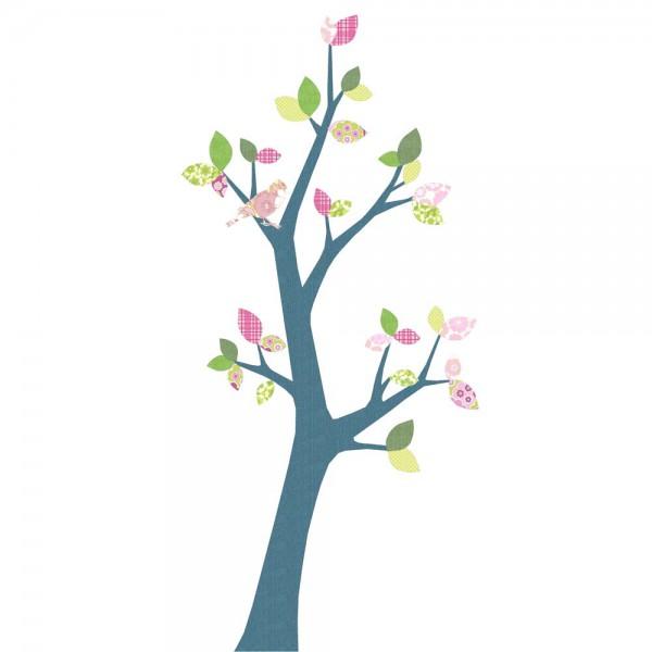Inke Tapetenbaum 3 Stamm dunkelblau Blätter rosa grün