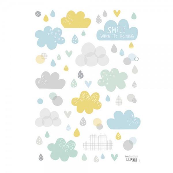 Lilipinso Wandsticker A3 Wolken und Regentropfen