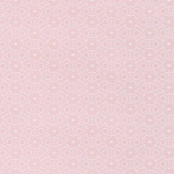 Rice Tapete Blumen mit Flock rosa