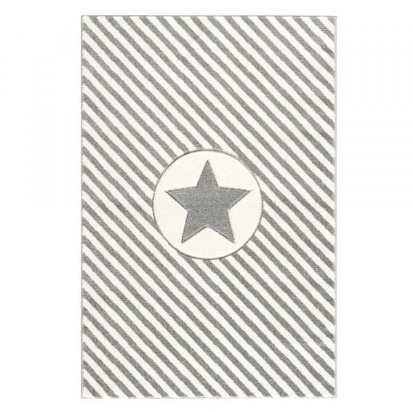 Livone Teppich Stern & Diagonal Streifen grau