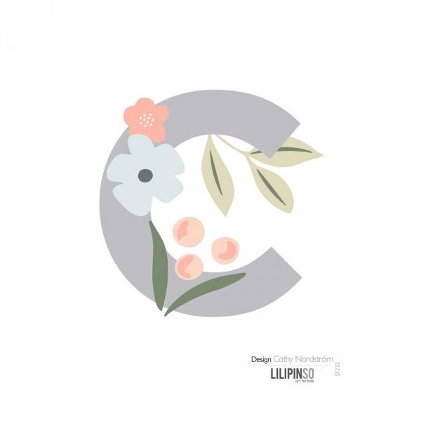 Lilipinso Sticker Buchstabe mit Blüten grau rosa pastell C