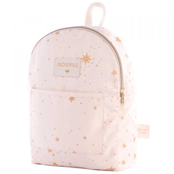 Nobodinoz Rucksack klein goldene Sterne rosa
