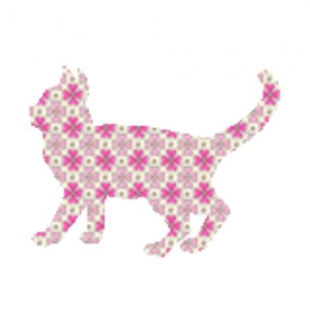 Inke Tapetentier Katze Raster rosa
