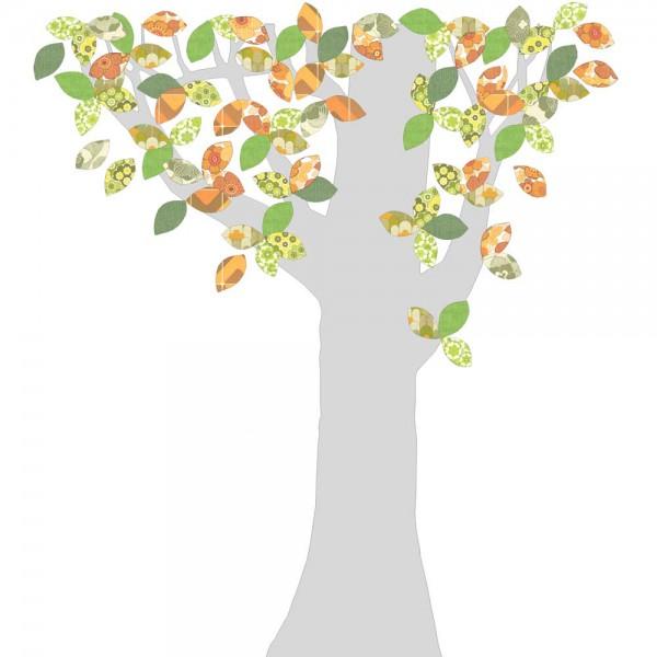 Inke Tapetenbaum 1 Stamm silber Blätter grün orange