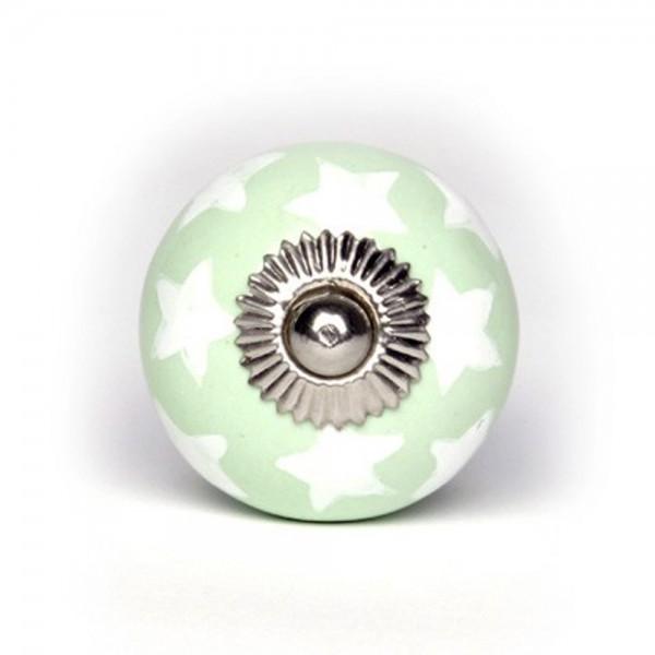 Knaufmanufaktur Möbelknopf Keramik grün Sterne