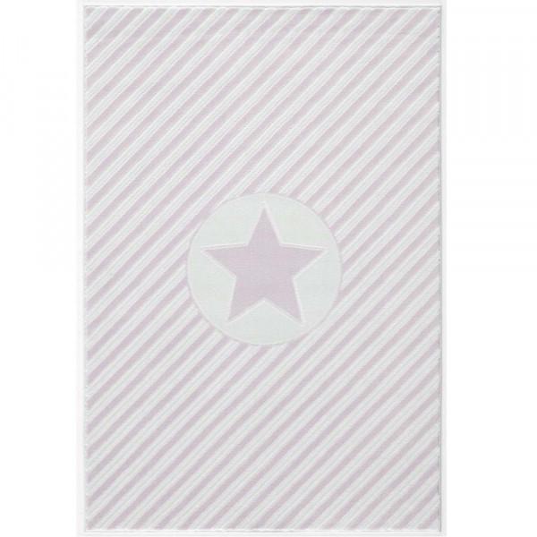 Livone Teppich Stern & Diagonal Streifen rosa