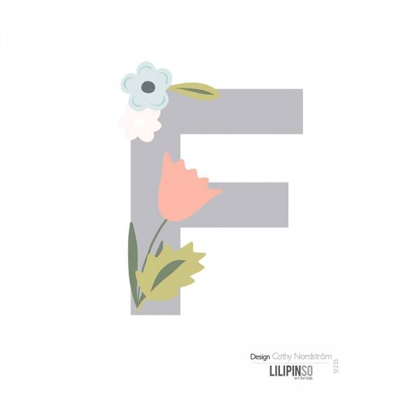 Lilipinso Sticker Buchstabe mit Blüten grau rosa pastell F