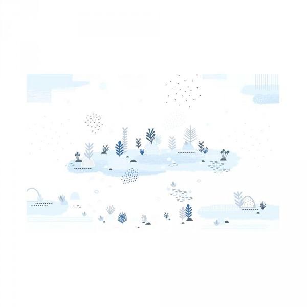 Lilipinso Vlies Wandbild Garten hellblau