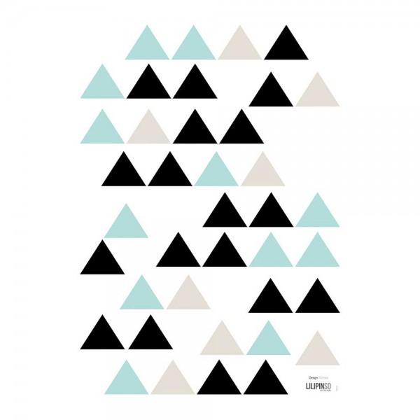 Lilipinso Wandsticker A3 Dreiecke schwarz beige mint