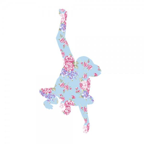 Inke Tapetentier Affe Rosen hellblau pink