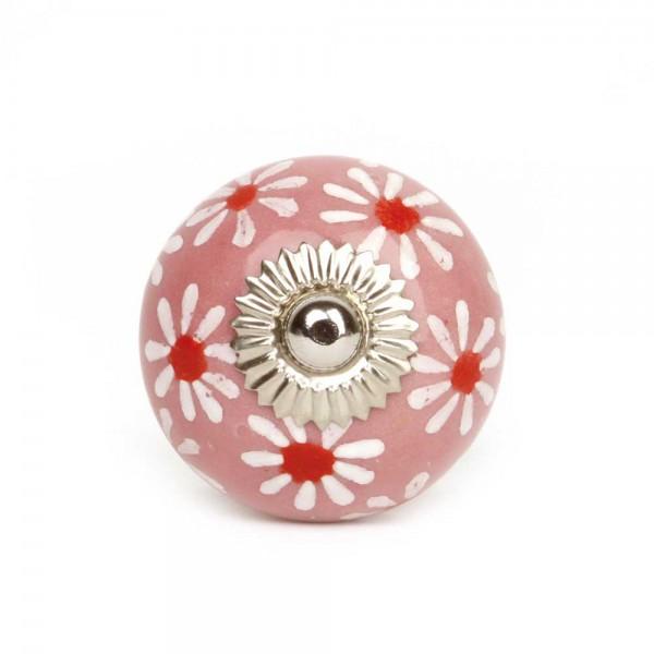 Knaufmanufaktur Möbelknopf rosa Blumen groß