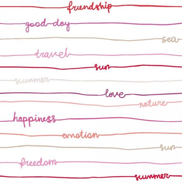 Caselio Ohlala Tapete Streifen & Worte lila pink rot