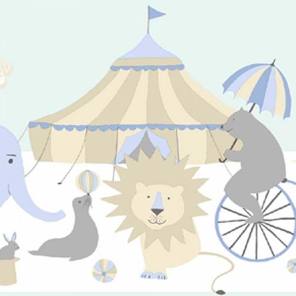 Rasch Textil Everybody Bonjour Bordüre Zirkus hellblau beige