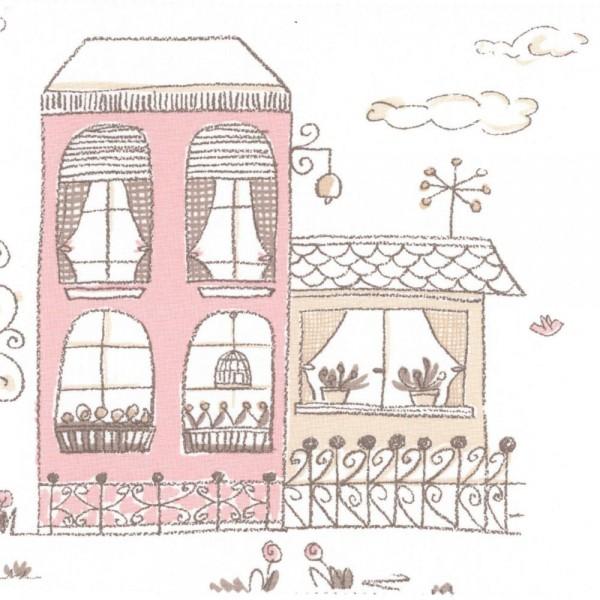 Casadeco Stoff Häuser braun rosa Jules & Julie