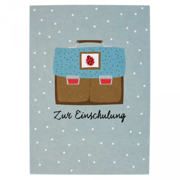 Ava & Yves Postkarte Einschulung Ranzen blau braun