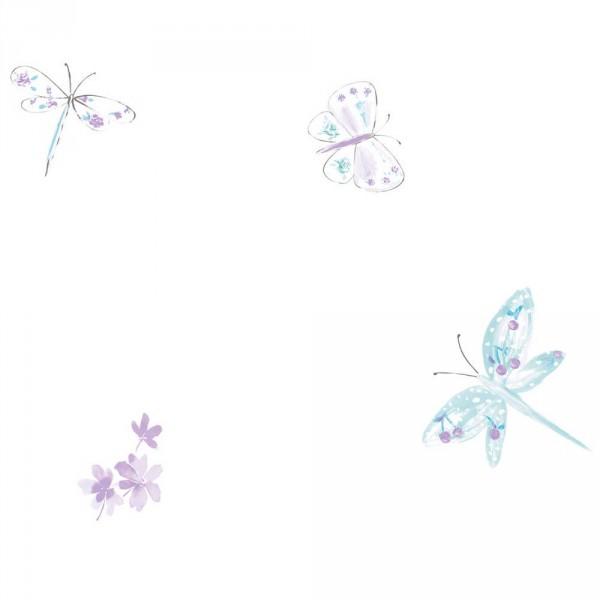 Caselio Ohlala Tapete Schmetterlinge & Libellen türkis lila
