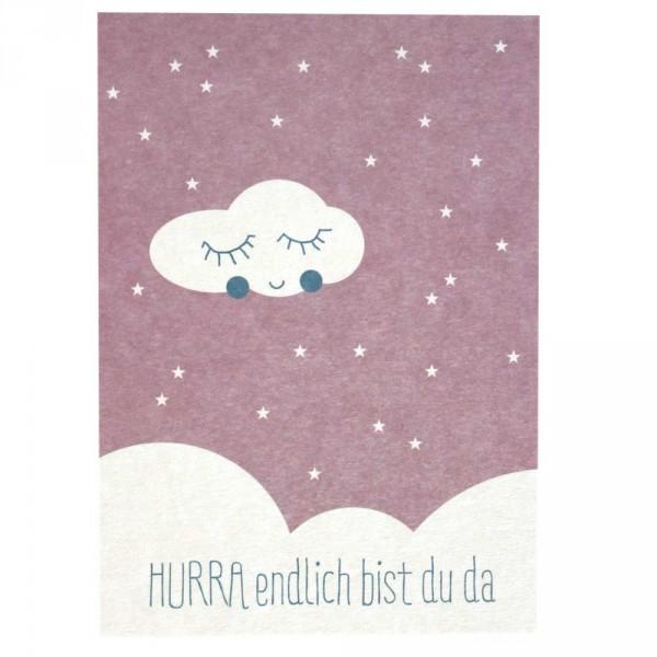 Ava & Yves Postkarte Geburt Wolke rosa