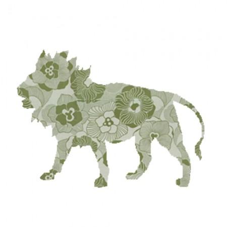 Inke Tapetentier Löwe Ranke oliv
