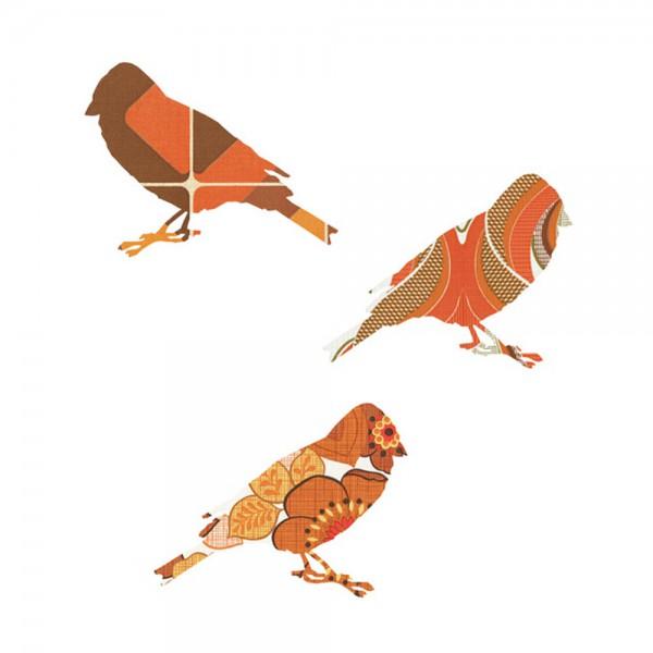 Inke Tapetenvögel orange