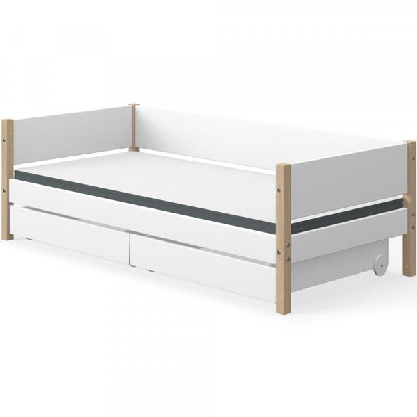 Flexa Nor Sofabett incl. 2 Schubladen weiß / Eiche