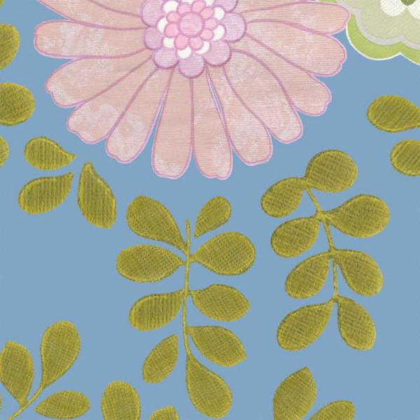 Inke Tapeten Wandbild Vintage Blumen blau
