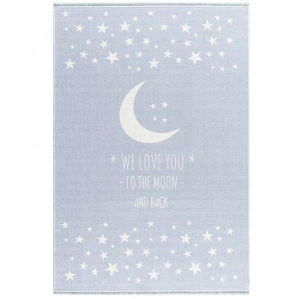 Livone Kinderteppich waschbar Mond & Sterne hellblau