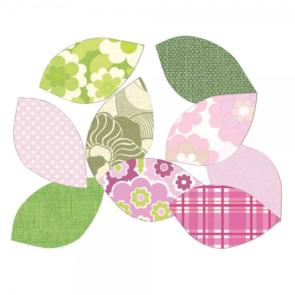 Inke Tapetenblätter grün/rosa