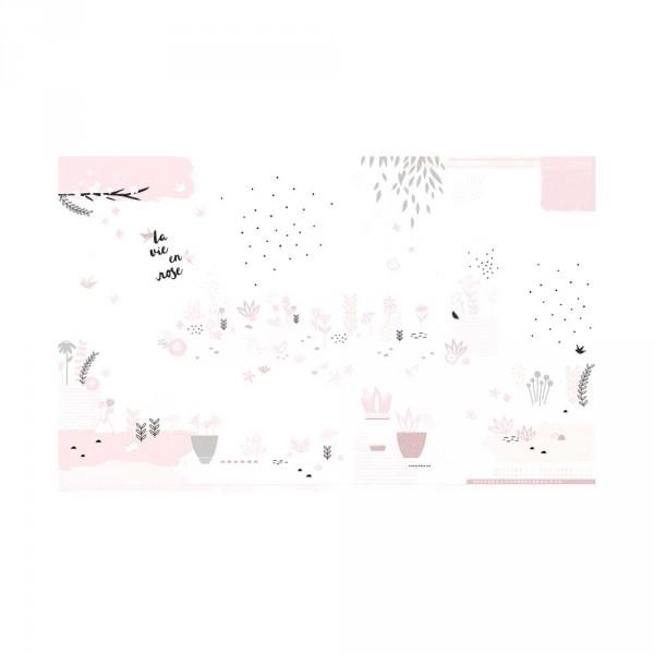 Lilipinso Vlies Wandbild Garten rosa