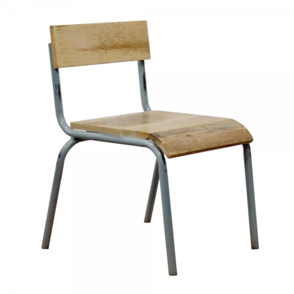 Kidsdepot Stuhl Metall Holz grau