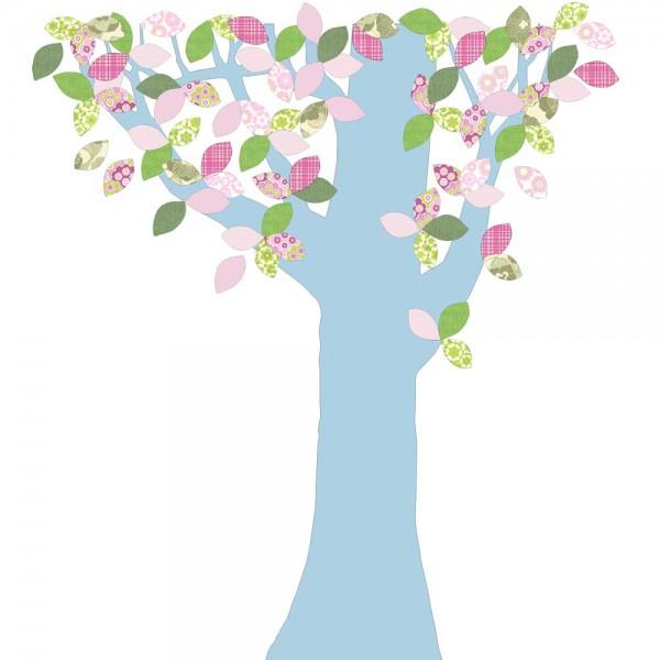 Inke Tapetenbaum 1 Stamm hellblau Blätter rosa grün
